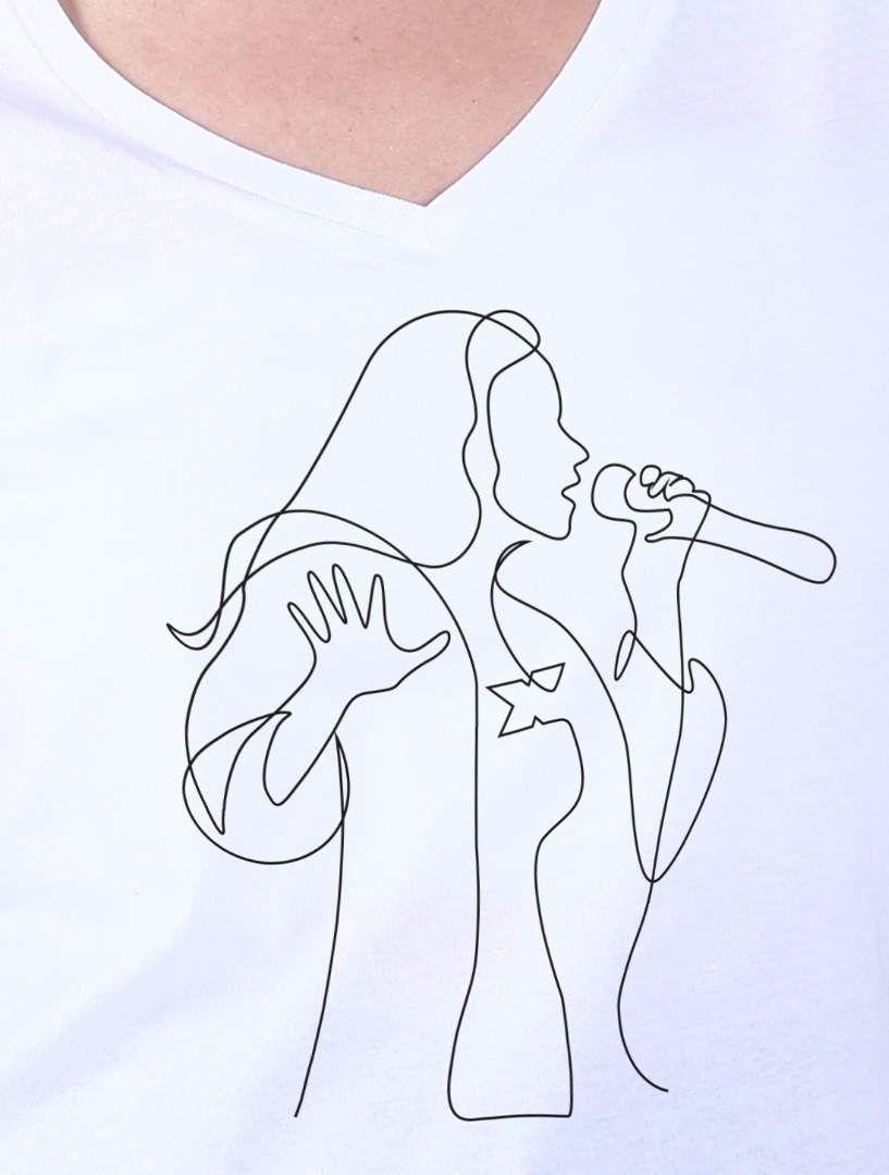 Tricou dama alb XFactor Singer