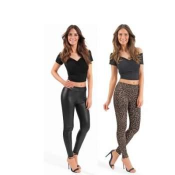Set pantaloni cu aspect de piele și leopard Slim Leggings