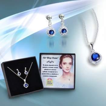 Set bijuterii: cercei și lănțișor cu pandantiv Deep Ocean