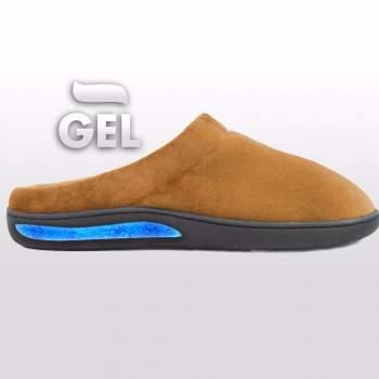 Papuci de casă cu talpă din gel, Gel Slippers, maro