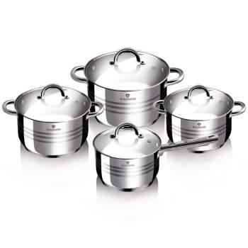 Set 4 oale de gătit din inox cu capace de sticlă, Gourmet Line