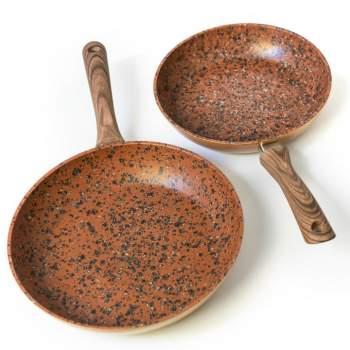 Set Regis Stone Copper Maestro: tigăi 24 și 28 cm antiaderente, cu particule de piatră și cupru