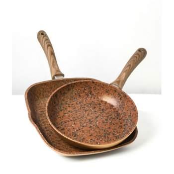 Set Regis Stone Copper Duo, tigăi 24 cm și grill antiaderente, cu particule de piatră și cupru