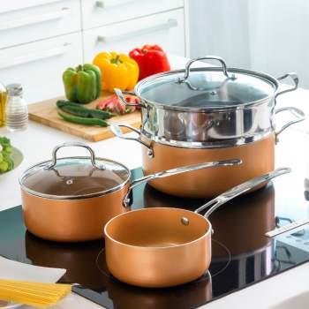 Set de gătit 6 piese: oală, steamer, 2 cratițe și 2 capace, Copper Touch