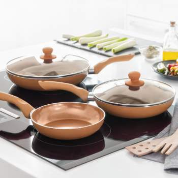 Set  piese: tigăi antiaderente + capac, Copper Touch