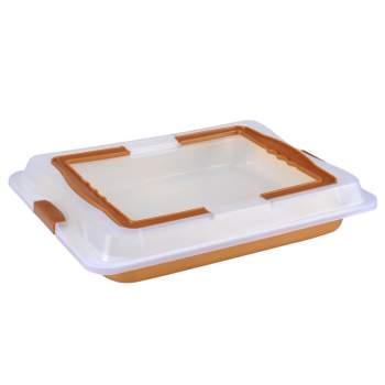 Tavă de copt cu particule de marmură + capac de plastic, Royalty Marble Tray with Cover