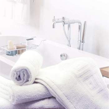 Prosop hotelier, 50x90 cm, alb cu model grecesc 500 gr/mp, Luxury Cotton Towel