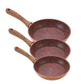 Set Regis Stone Copper Family: tigăi 20, 24 și 28 cm antiaderente, cu particule de piatră și cupru