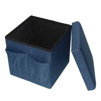 Taburet pliabil cu spațiu de depozitare, din linen, ReLax