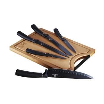Set 5 cuțite bucătărie din inox și tocător din bambus ReTaste