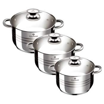 Set 3 oale de gătit din inox și capace de sticlă , Gourmet Line