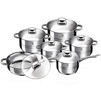 Set bucătărie 12 piese inox HomeVero: 4 oale, 1 cratiță, 1 tigaie și 6 capace de sticlă