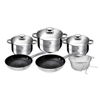 Set inox 10 piese HomeVero: 3 oale, 2 tigăi, 1 coș pentru prăjit cu mâner detașabil și capace de sticlă