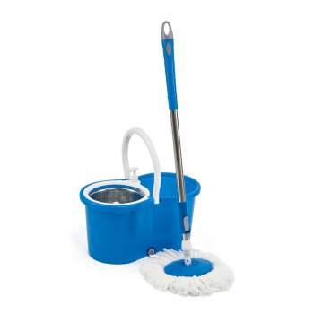 Mop Rotativ Super Easy Clean 360 cu mâner telescopic, găleată cu storcător și cuvă metalică, 12L
