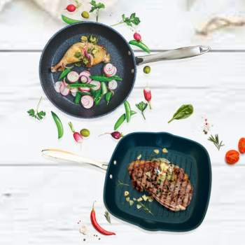 Set tigaie clasică și grill antiaderente Hammer Diamond HomeGrill By Regis Stone