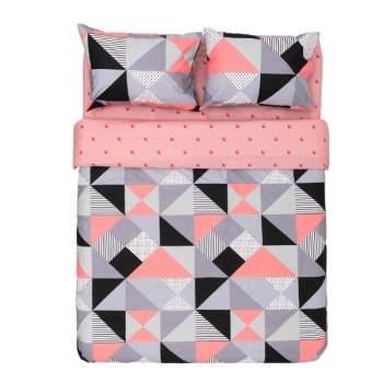 Lenjerie King Size 100% bumbac, 4 piese, model geometric roz, EasyLinen