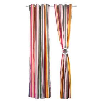 Set 2 draperii 100% bumbac, 140x270 cm, model dungi multicolore