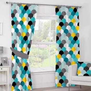 Set 2 draperii 100% bumbac, 140x270 cm, model geometric albastru
