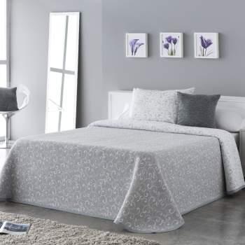 Cuvertură matlasată model floral gri, 230x270 cm, EasyComfort