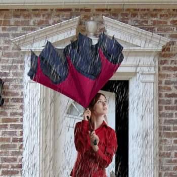 Umbrelă reversibilă Wonderdry, cu buton pentru închidere și deschidere automată, lungă, roșie
