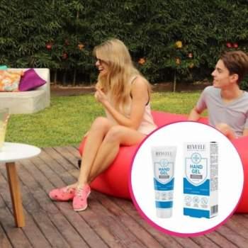 Pachet avantajos: Saltea gonflabilă fără pompă Air Chair roșie + Gel dezinfectant Revuele CADOU