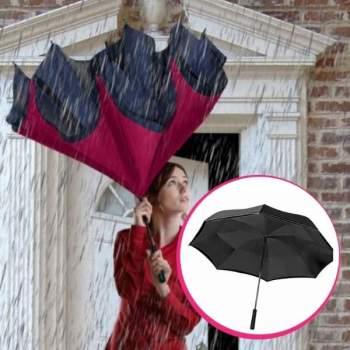 Set umbrele reversibile Wonderdry: umbrelă automată, lungă, roșie și umbrelă compactă, neagră CADOU