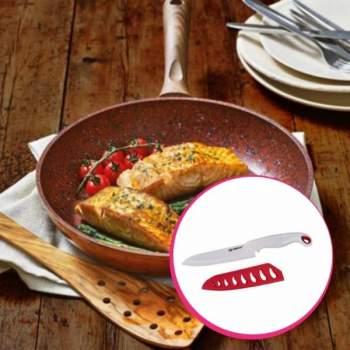 Pachet avantajos: Regis Stone Copper Pan, 24 cm + Cuțit ceramic cu teacă Alpina, 28cm
