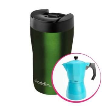 Pachet avantajos: Espressor cafea pentru aragaz + Cană termos latte, 0.25 L