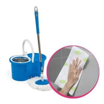 Pachet avantajos: Mop rotativ Super Easy Clean 360  + Prosoape de bucătărie din fibră de bambus Mighty Bamboo Towels