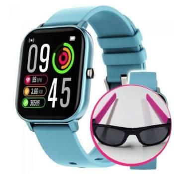 Pachet avantajos: Ceas Wellness Smart Pro, albastru + Ochelari de soare flexibili Clix, roz, CADOU