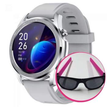 Pachet Avantajos: Ceas Smart Pro Titan Silver + Ochelari de soare flexibili Clix, Roz CADOU