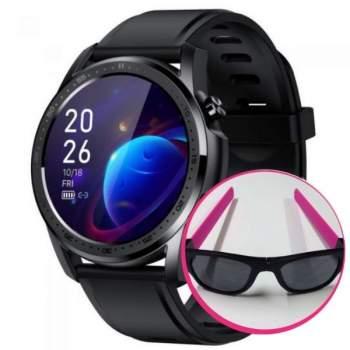 Pachet Avantajos: Ceas Smart Pro Titan Black + Ochelari de soare flexibili Clix, Roz CADOU