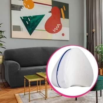 Pachet avantajos: Husă canapea 2 locuri EasyCover Elite, gri închis + Pernă ortopedică pentru genunchi Comfy Pillow