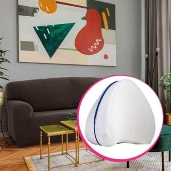 Pachet avantajos: Husă canapea 2 locuri EasyCover Elite, maro + Pernă ortopedică pentru genunchi Comfy Pillow