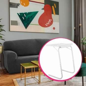 Pachet avantajos: Husă canapea 3 locuri EasyCover Elite, gri închis + Măsuță reglabilă pentru laptop HomeVero