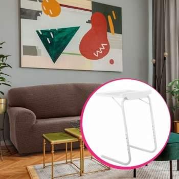 Pachet avantajos: Husă canapea 3 locuri EasyCover Elite, maro + Măsuță reglabilă pentru laptop HomeVero