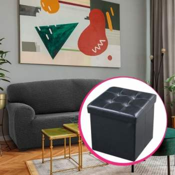 Pachet avantajos: Husă canapea 3 locuri EasyCover Elite, gri închis + Taburet piele ecologică negru