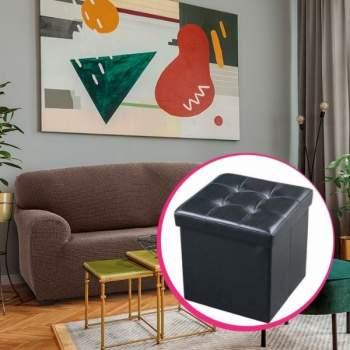 Pachet avantajos: Husă canapea 3 locuri EasyCover Elite, maro +Taburet piele ecologică negru