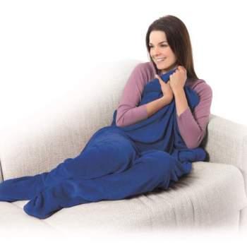 Pătură cu buzunare pentru picioare Warm feet, albastru