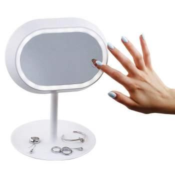 Oglindă cosmetică iluminată LED, cu efect lupă și picior, Domoclip